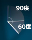 カット前に90度、カット後に60度スイングさせている図